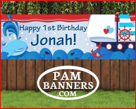 Large Blue Whale Sailor Boat Fun Banner And Signs 6x2 With Grommets In 2020 Banner Printing Vinyl Banners Whale Birthday