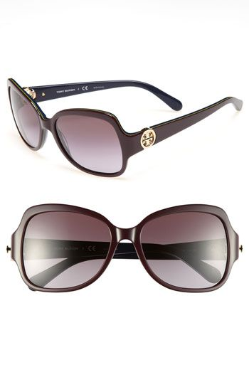 993b8cd526 Tory Burch  Glam  57mm Logo Hinge Sunglasses available at  Nordstrom Estilo  De Moda