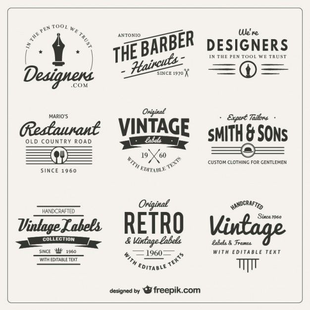 Download Variety Of Badges In Retro Style For Free Vintage Logo Design Lettering Retro Logos