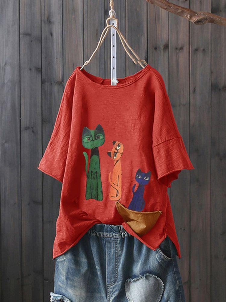 b7b8af2d8f6a6b Fashionable Pocket Cartoon Print Long Sleeve T-shirt For Women Online -  NewChic Mobile