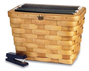 Great for a home office or even a craft room. This basket is made to hold hanging files. The hooks rest on top of the solid wood frame at the top of the basket. Now you can keep your most important files close by.