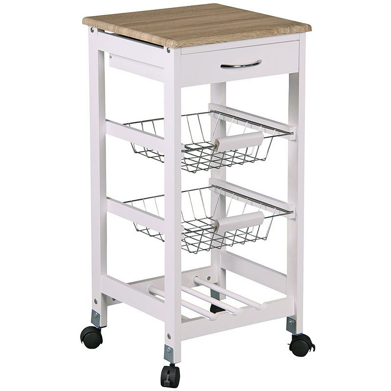 Home Basics Kitchen Trolley With Drawers And Baskets Cart Metal