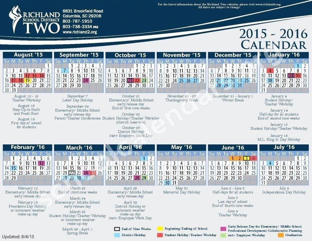 Richland 2 Calendar 2021 Richland 2 Printable Calendar in 2020 | Calendar, School calendar