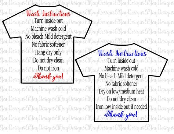 Shirt wash instructions svg, HTV shirt care card, care