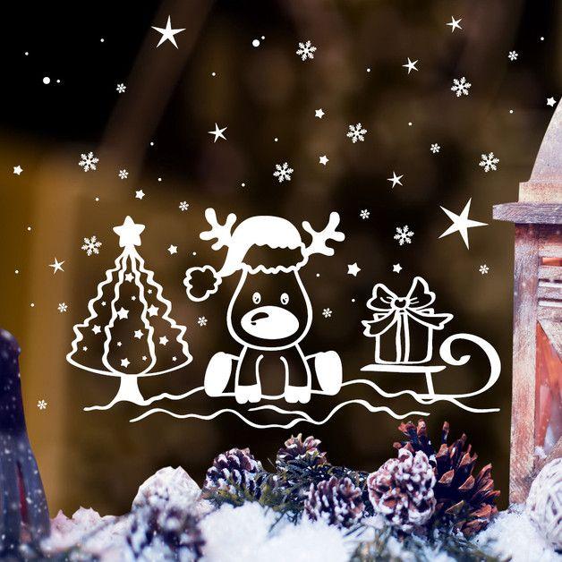 **Fensterbild Kleiner Elch auf einem Schlitten** zur weihnachtlichen Dekoration in der **Farbe WEISS** **Mit diesem Angebot erwerben Sie den Fensteraufkleber in der Größe:** 59 x 73 cm... #fensterdekoweihnachtenbasteln