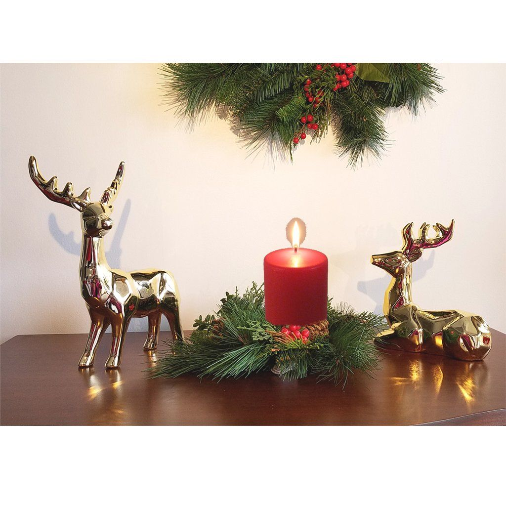 Christmas Ceramic Deer Gold Table Top Candle Ring Wreath Christmas Decorations Gold Table Table Top Candles
