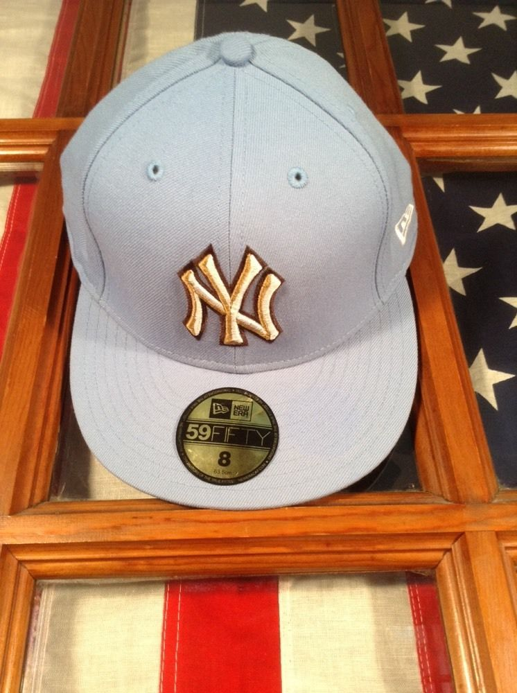 NEW ERA 59Fifty Fitted Hat Cap New York Yankees Size 8 Sky Blue White Tan  Brown  NewYorkYankees 679bd062ede