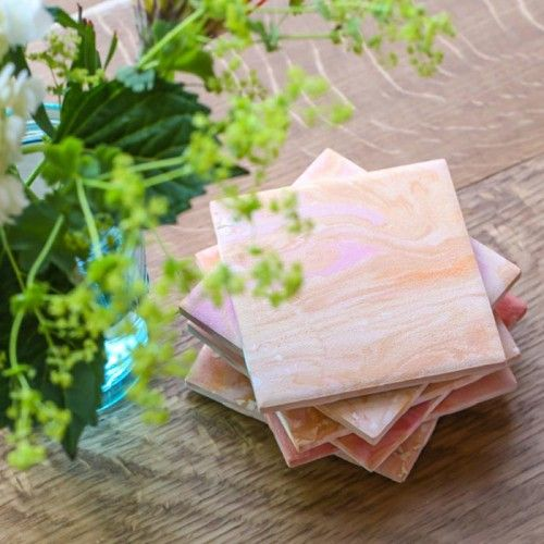 DIY Marbled Coasters by For the Makers for Design*Sponge