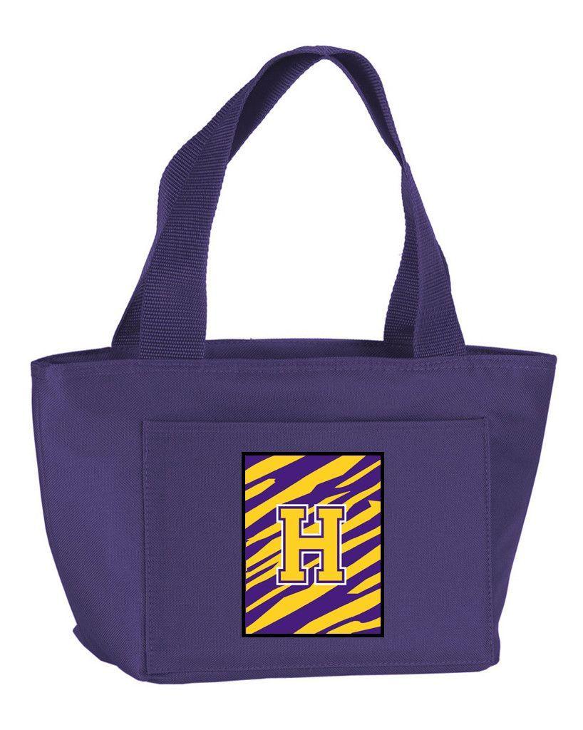 Letter H Monogram - Tiger Stripe - Purple Gold Lunch Bag or Doggie Bag CJ1022-H-PR-8808