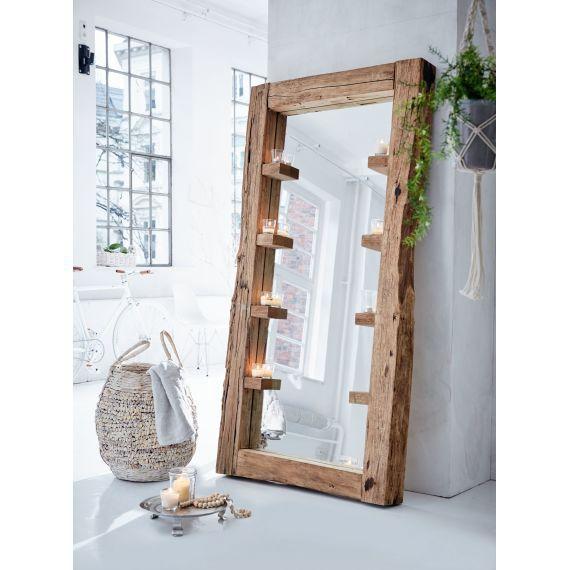 Spiegel Natur Look Recyceltes Teakholz Vorderansicht Spiegel Holz Spiegel Holzrahmen Spiegel