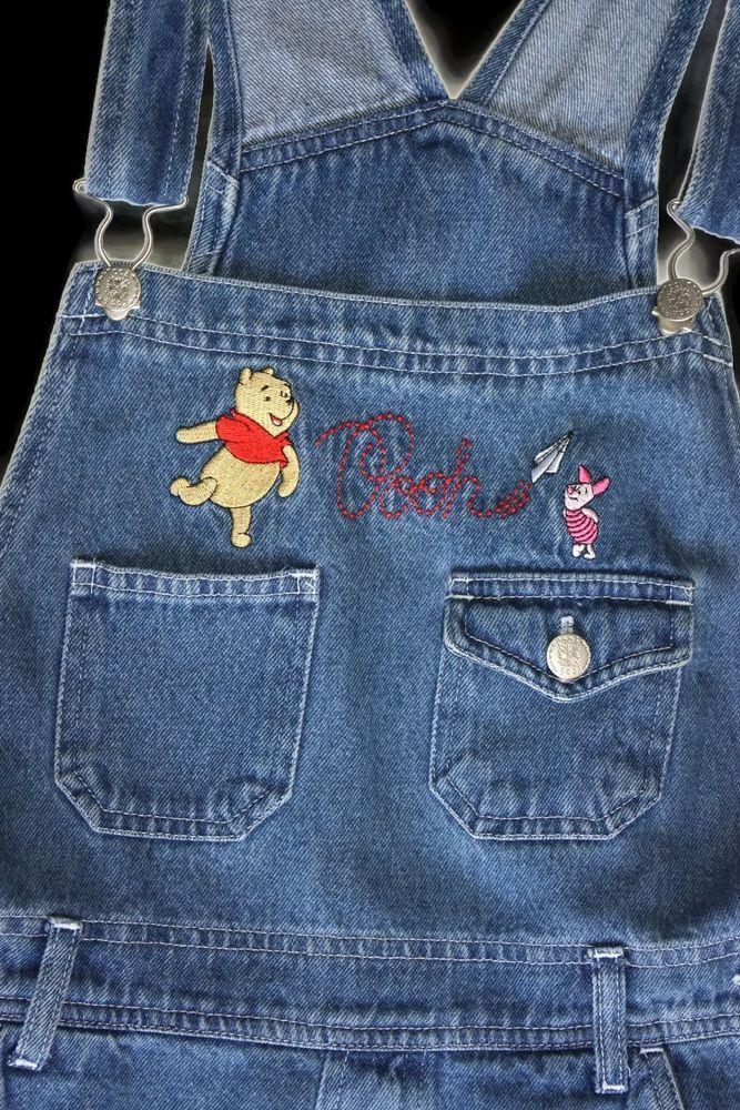 bac80030c48 Winnie the Pooh Overalls Denim Piglet Women Bibs Jumper Medium Disney Jeans   Disney  Overalls