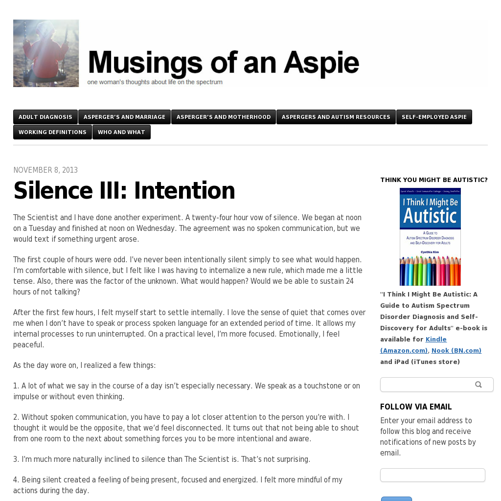 Blog Musings of an Aspie Aspergers, Autism resources