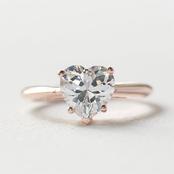 Rose Gold Engagement Ring Sterling Silver Heart Shaped Ring 925