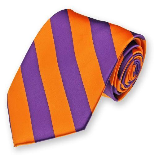 Purple and Orange Striped Tie