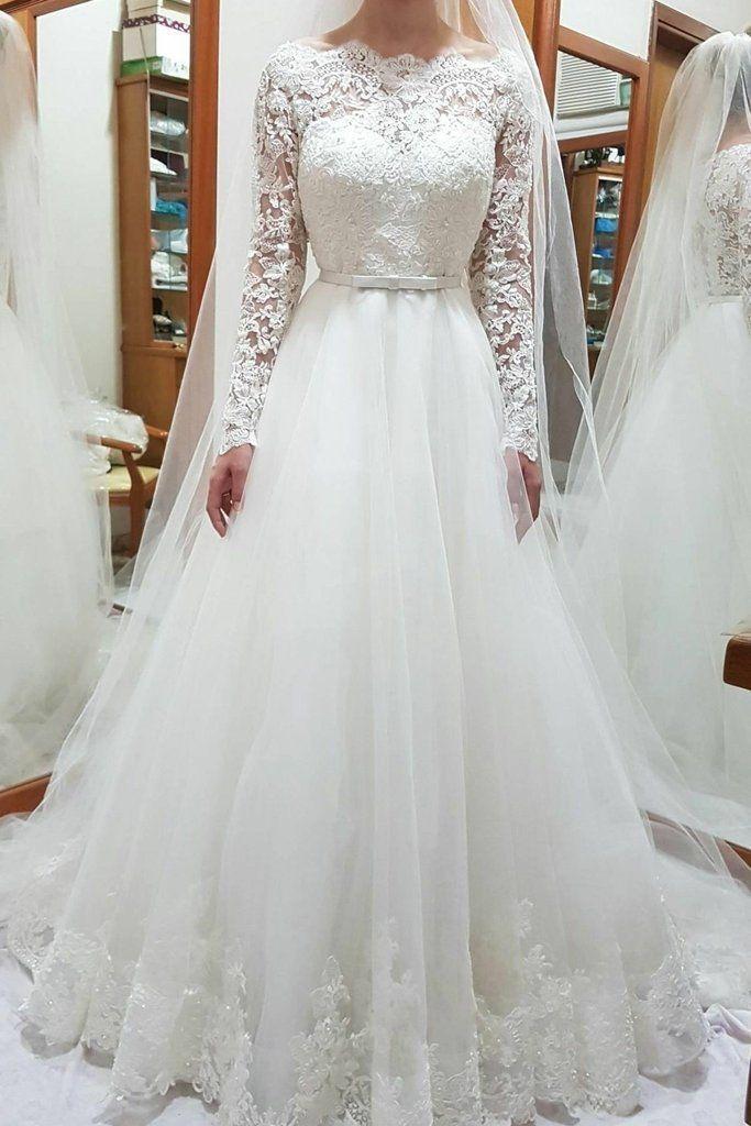 Unique Bateau Lace and Tulle Wedding Dresses Long Sleeves Bridal Dresses