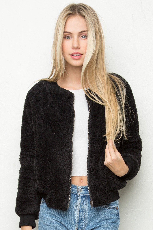 dca7a83ec Brandy ♥ Melville | Milena Fur Bomber Jacket - Outerwear - Clothing ...
