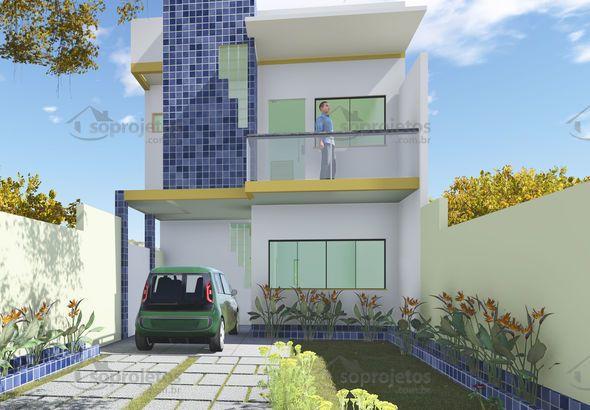Favoritos Para terrenos estreitos a partir de 6 metros de frente, esta casa  UN23
