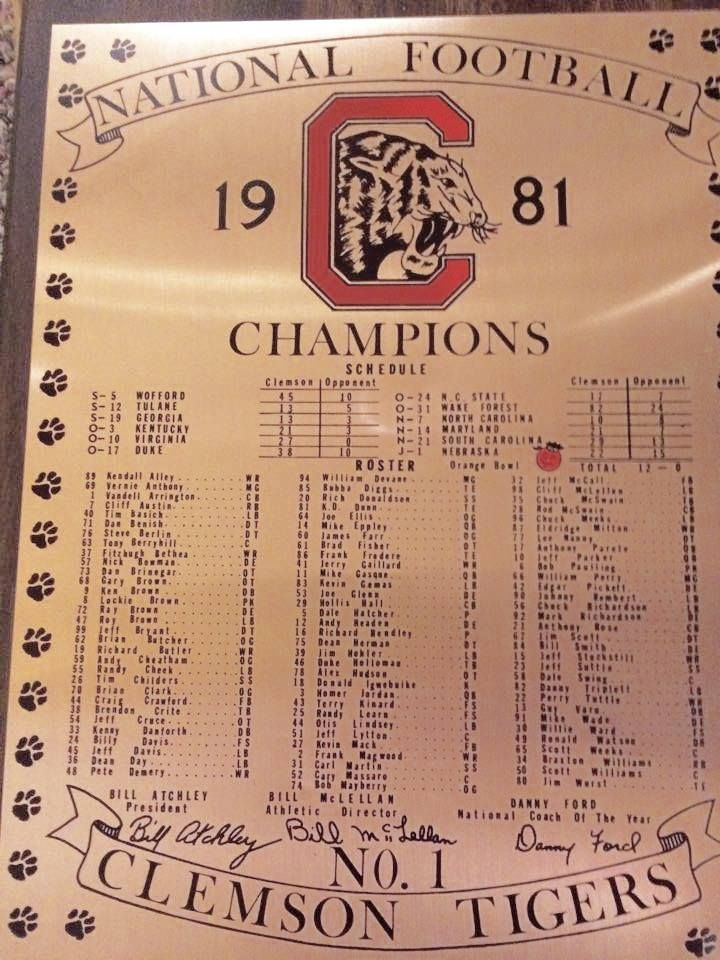 1981 Clemson Tiger S Roster And Schedule Clemson Tigers Football