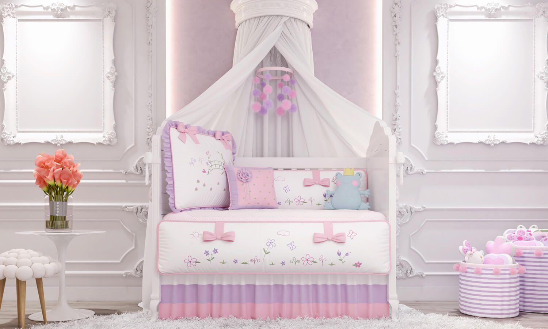 11fc5ab70c O Kit Berço Floral Monet traz bordados exclusivos