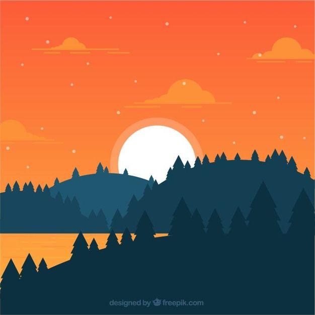 Landscape Illustration Vector Free: Flat Landscape Of Forest At Sunset #Free #Vector