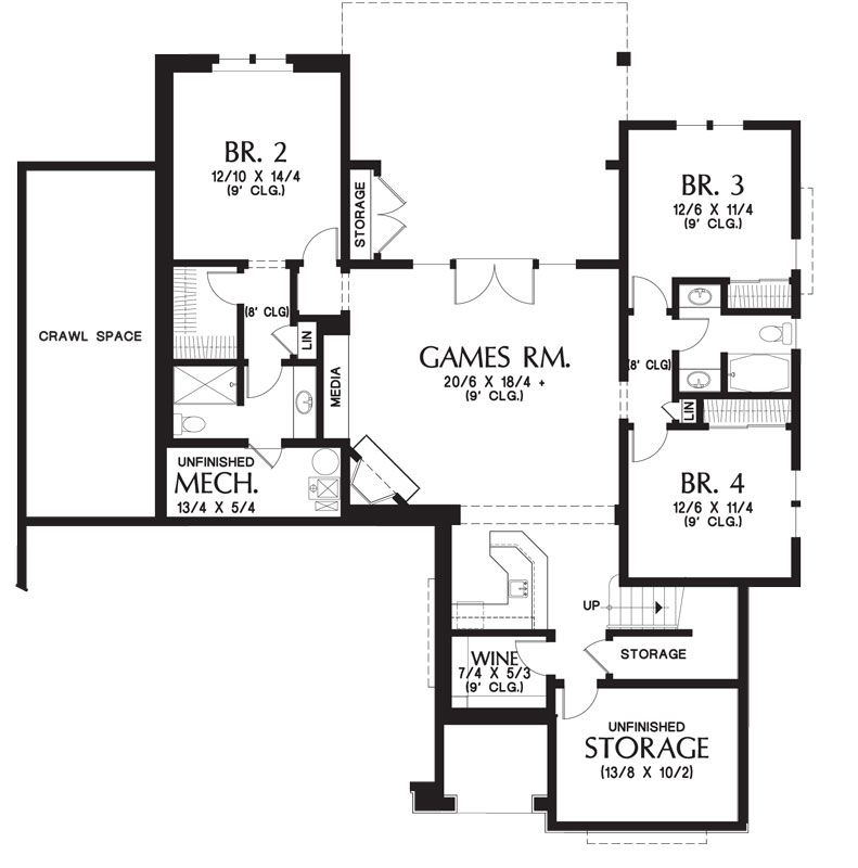 Traditional Craftsman House Plan with Finished Walkout Basement