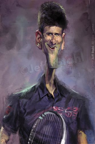 Novak Djokovic By Jeff Stahl Sports Cartoon Toonpool Caricature Funny Face Drawings Funny Caricatures