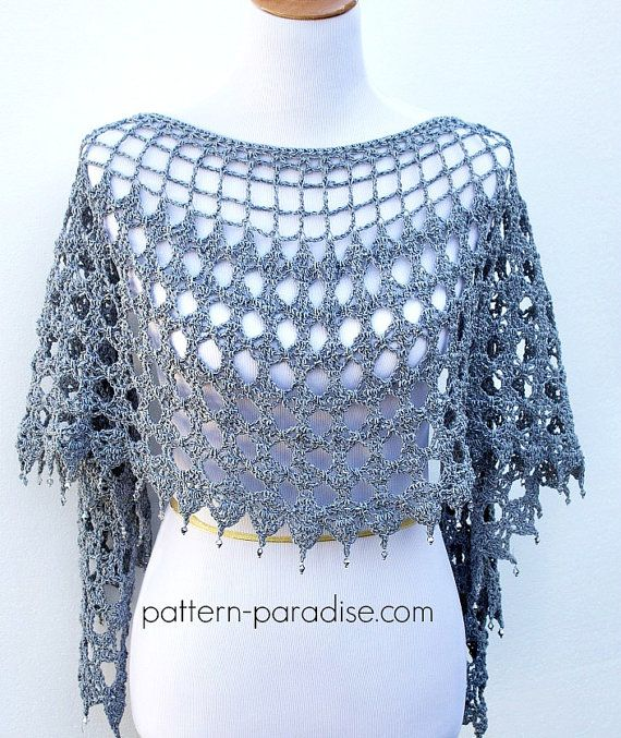 Crochet Pattern for Evening Shimmer Wrap poncho, convertible, PDF 14 ...