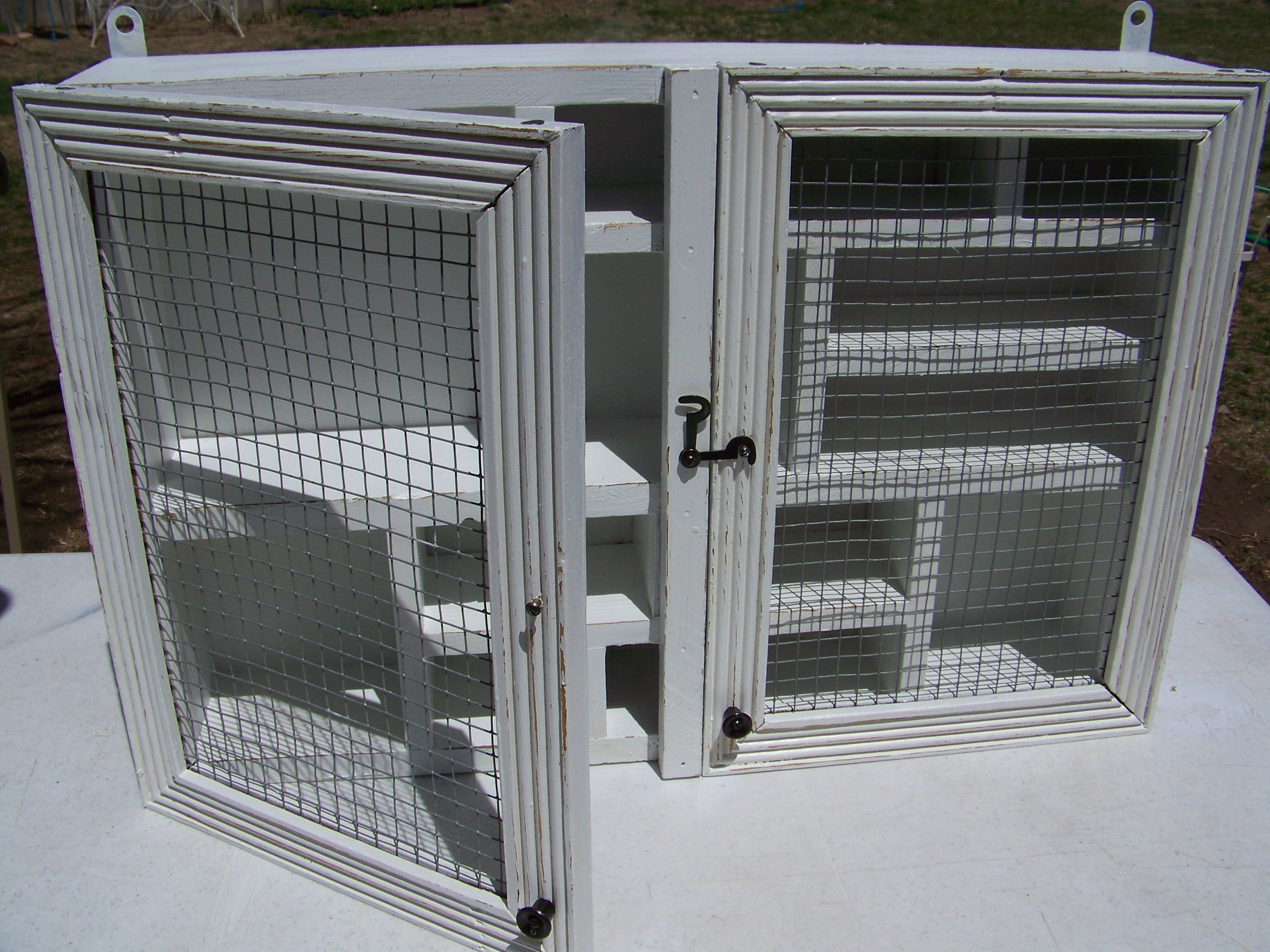 DIY #vintage #painted furnature #wall cabinet #chicken wire http ...