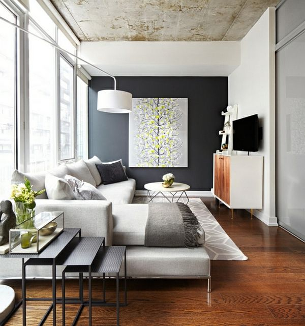 Wohnzimmer Farbgestaltung u2013 Grau und Gelb - Wohnzimmer - wohnzimmer design weiss