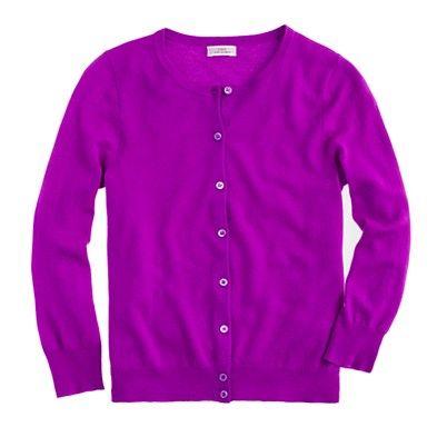 j. crew featherweight cashmere cardigan in bright plum, $178