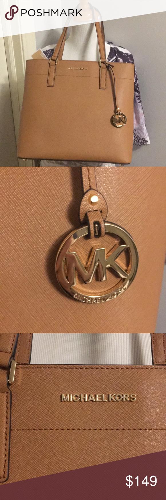 "dbe8088c5392 Michael Kors Morgan Large Leather Tote Acorn color . Bag length 11 1/2"". Bag  height 11.25"". Handle drop 9"". Michael Kors Bags Totes"