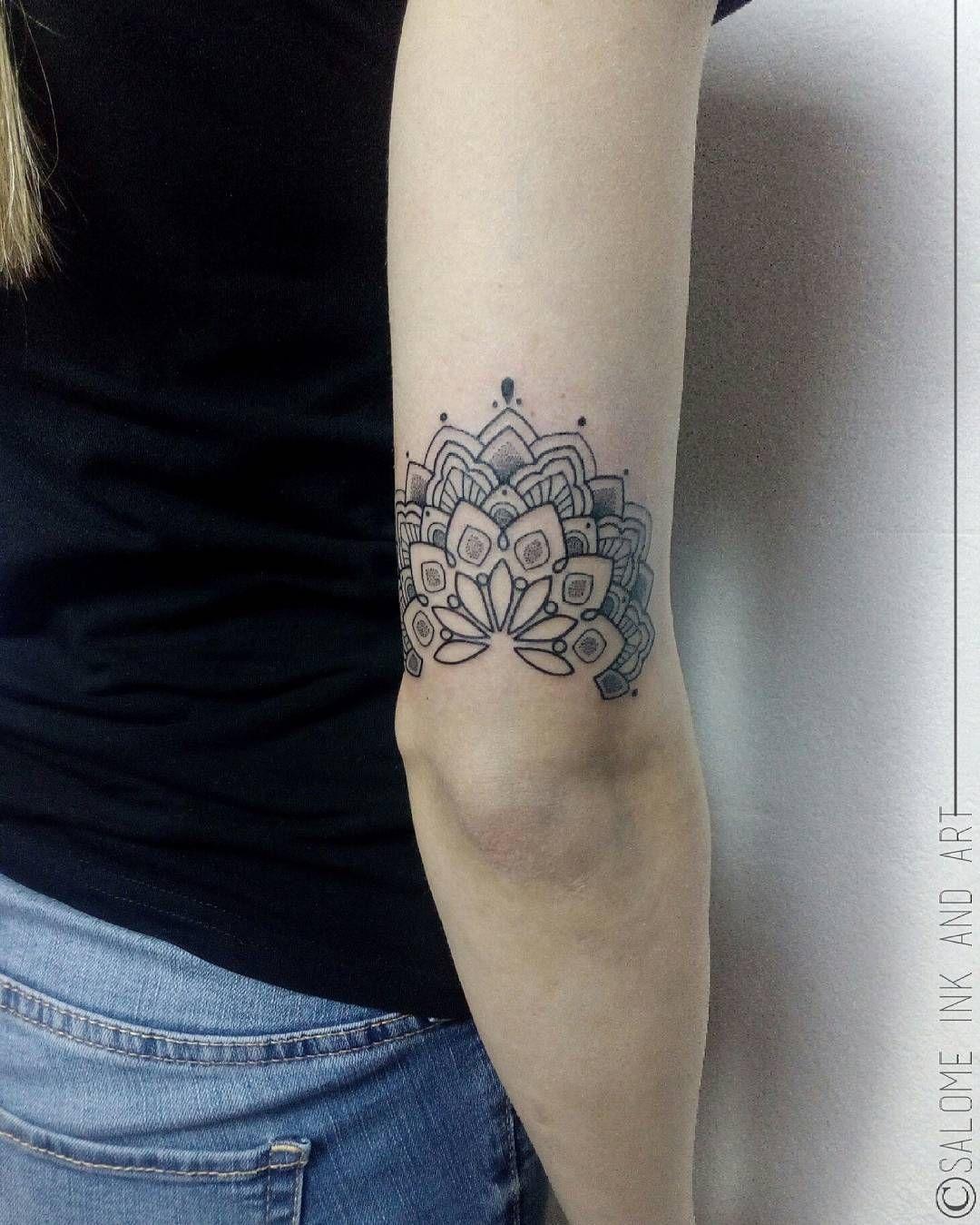 Little Elbow Ornament Mandala Arm Tattoos Elbow Tattoos Tricep Tattoos