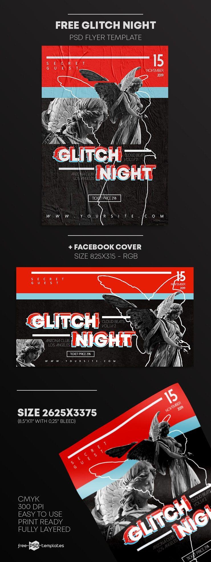 Free Glitch Night Flyer Template in PSD Motivasi