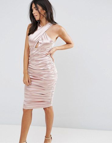 Ax Paris Slinky Pink Ruched Dress With A Cross Over Cut Out Front - Pink AX PARIS