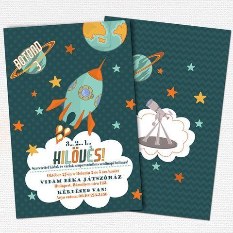 Űrhajós születésnapi meghívó fiús partikra - nyomtatható, Dekoráció, Képeslap, album, füzet, Mindenmás, Meska