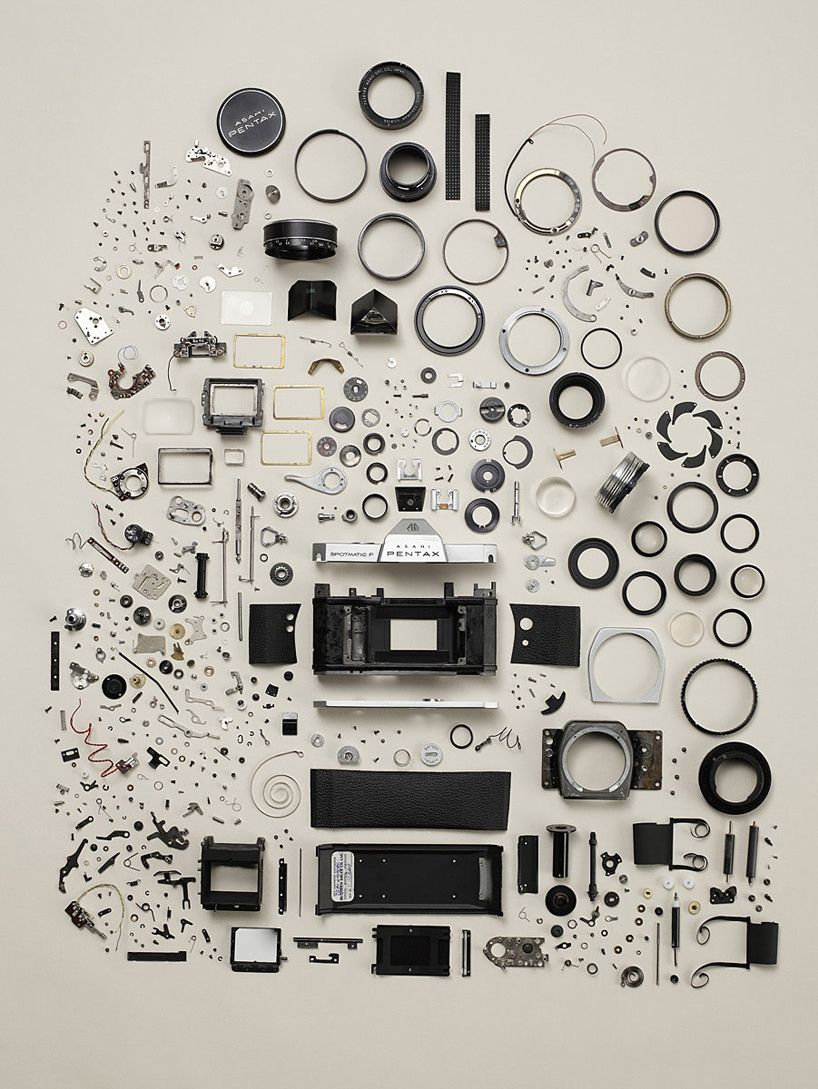 Pentax - Disassembly by Todd Mclellan via designboomtodd mclellan: Things that come apart. #Photography #Disassembly #Todd_McClellan