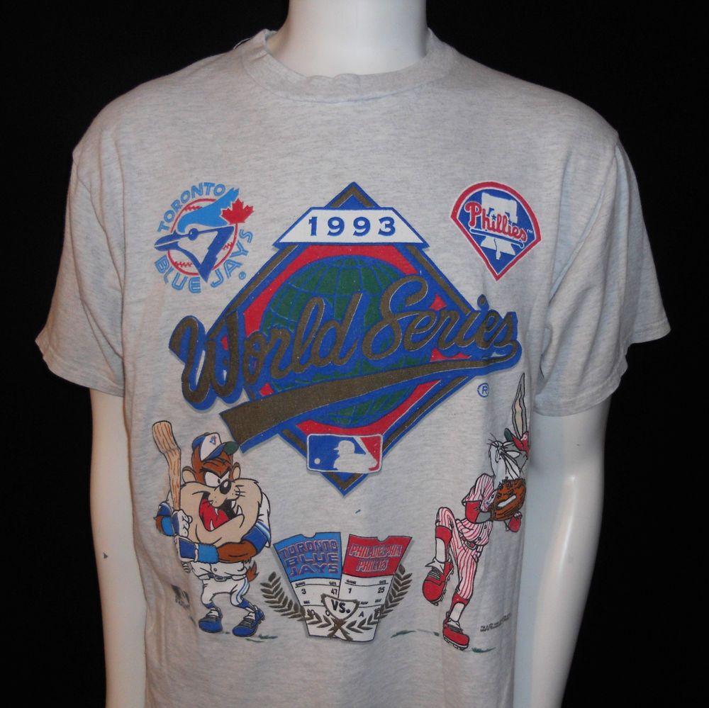 36d4065c7291 1993 World Series T-Shirt LG MLB Blue Jays Phillies Bugs Bunny Taz Looney  Tunes…
