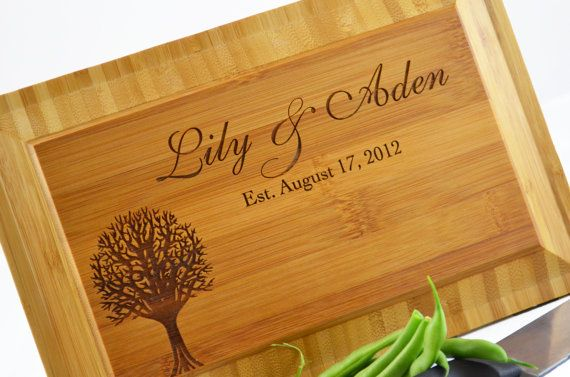 Personalized engraved Bamboo Cutting Board by Twistedbranchdesigns, $29.00