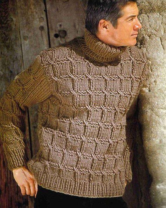 Cuello hecho a la orden mano de los hombres de aran suéter   Tejido ...