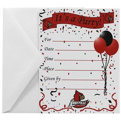 Louisville Cardinals 8Pack Party Invitations Envelopes – Party Invitation Envelopes