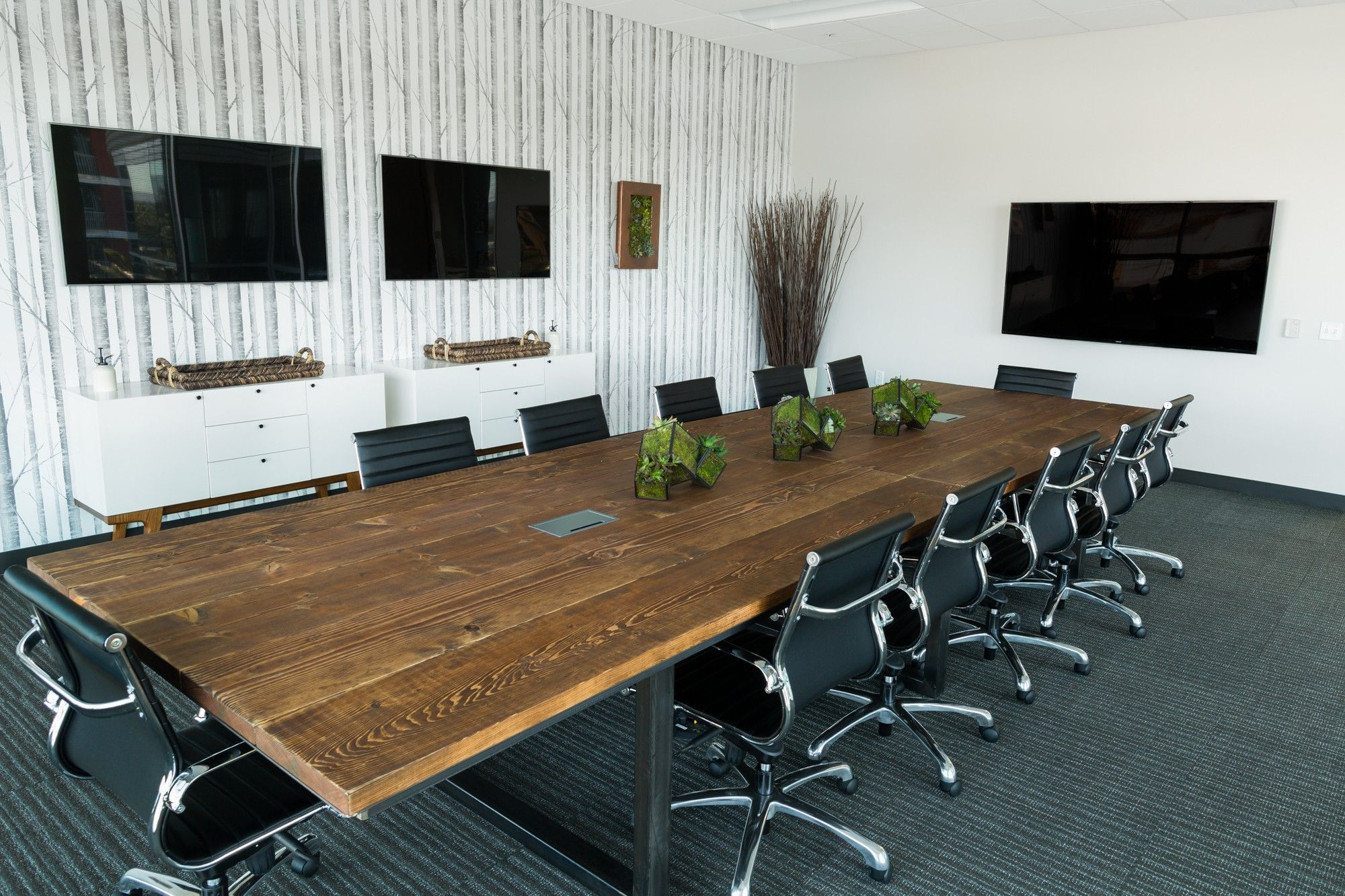 Tables Captivating Cool Conference Tables Rectangle Shaped Hardwood Table  Top Walnut Finish Black Metal Base Built In Cable Management Black Leather  Mid ...