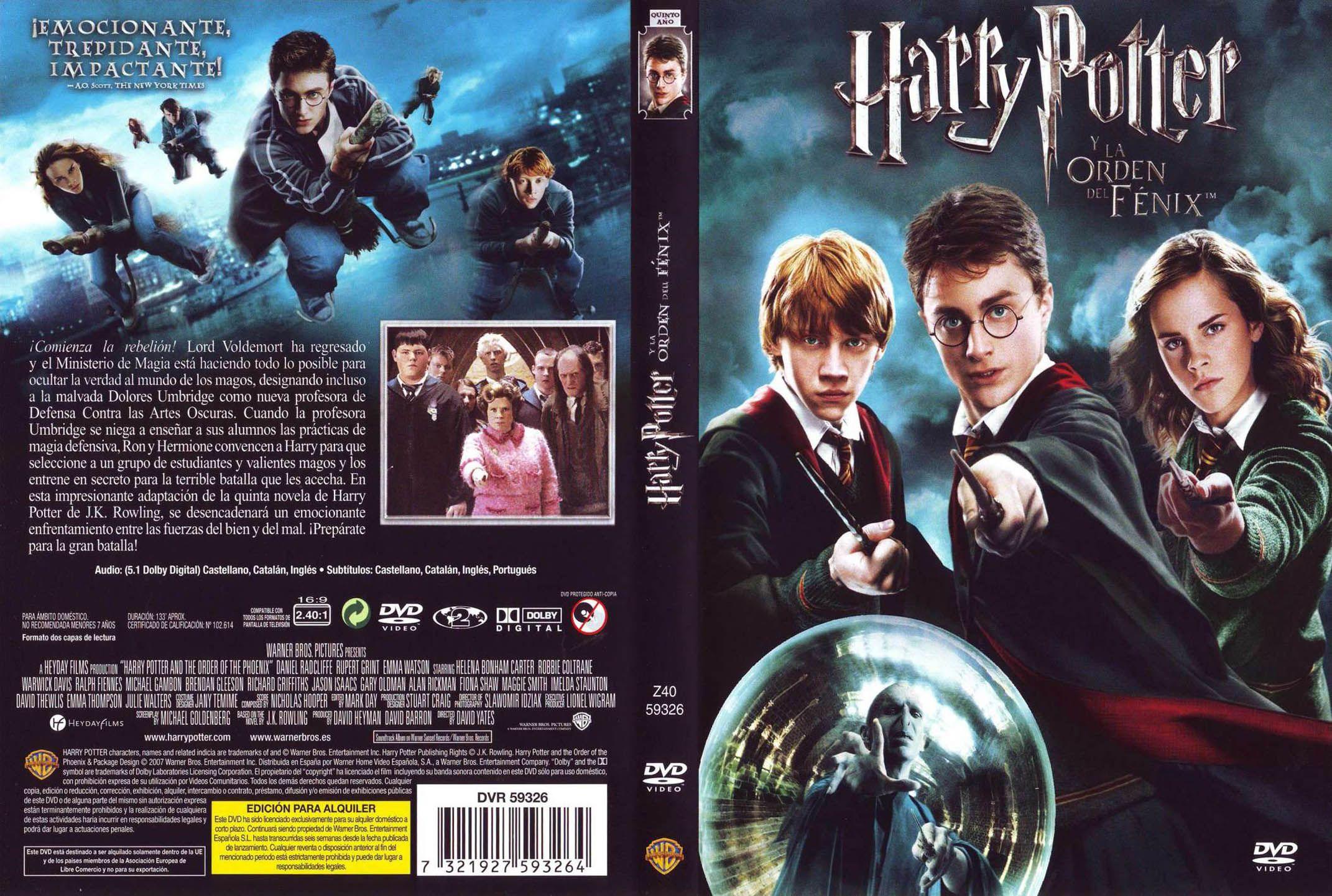 Harry Potter Y La Orden Del Fenix Harry Potter Harry Potter Dvd Cover Harry Potter