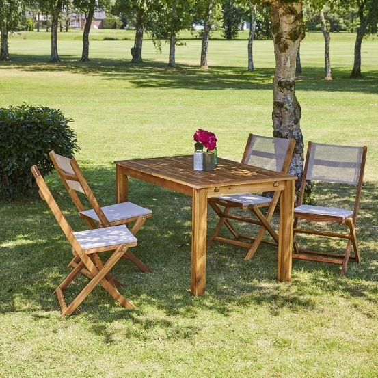 Salon de jardin en bois d\'acacia FSC extensible 4/8 places ...