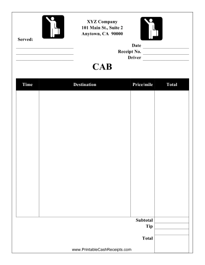 This Cab Receipt Can Be Used For A Taxi Cab Or Limousine Service Free To Download And Print Taxi Cab Cab Taxi