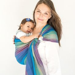 Hug A Bub Traditional Ring Sling Bondi Blues Mesh With Images Baby Carrier Best Baby Carrier Baby Wearing