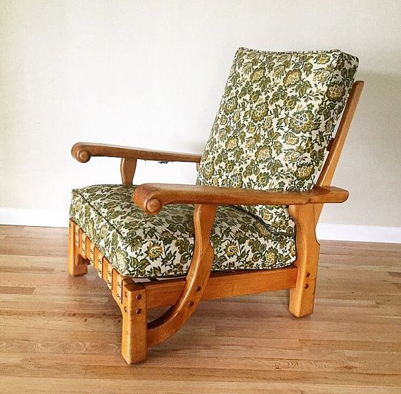 1950s Mid Century Rustic Mission Style Lounge Chair Recliner