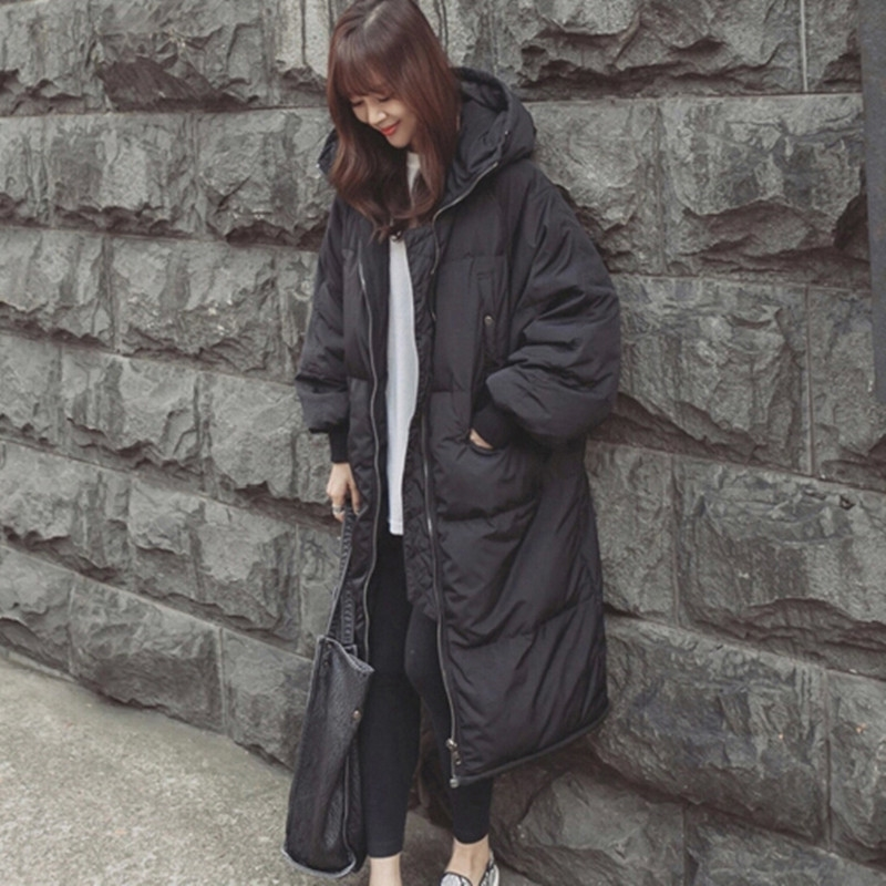59.50$  Watch now - http://alisiv.worldwells.pw/go.php?t=32402408640 - 2016 New Korea Celebrity Same Style Long Coat Large Size Casual Wadded Jacket Loose Parkas For Women Winter DX107