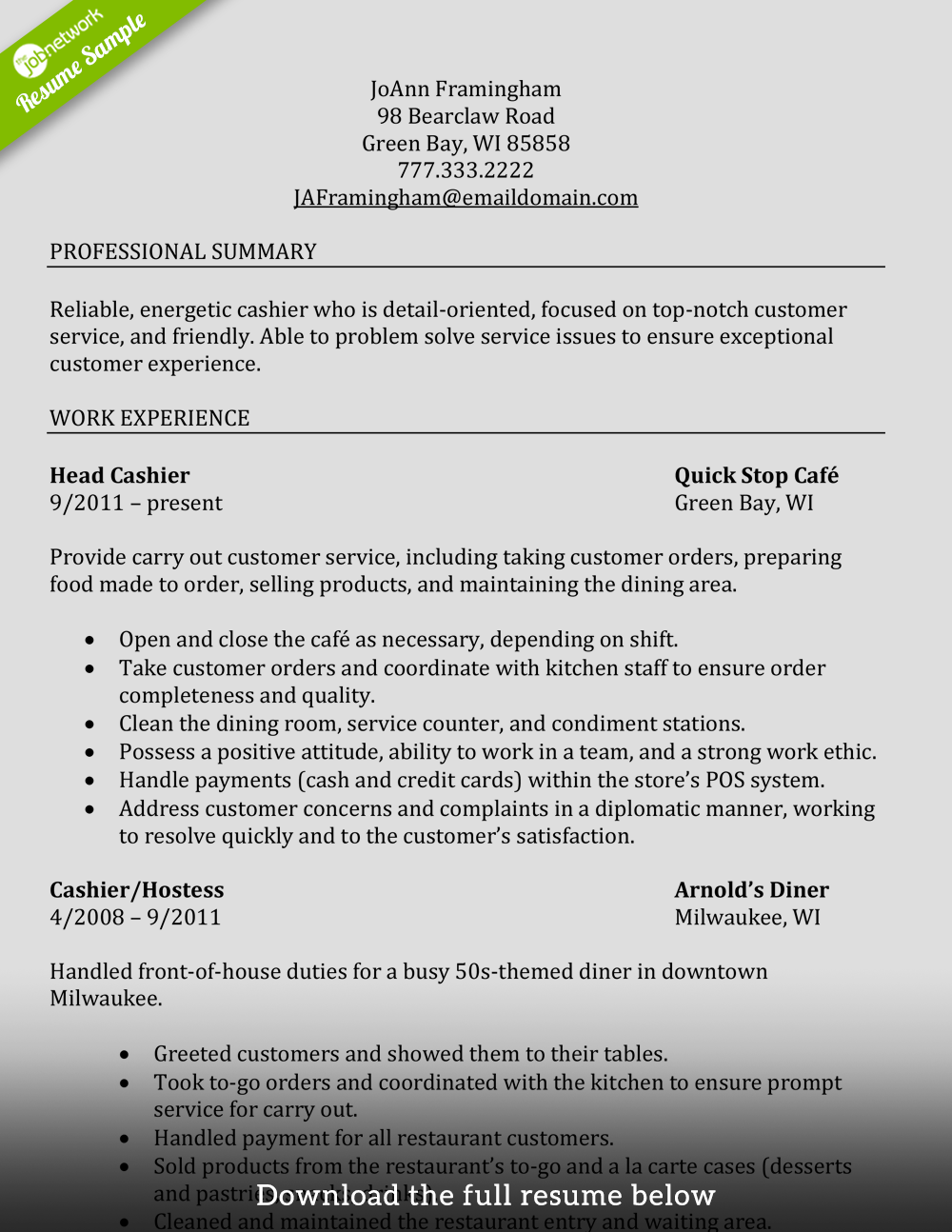 Cashier Resume Examples How Write Perfect Cashier Resume Examples Included Experienced