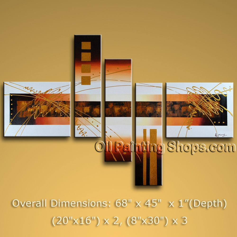 Hand-painted 5 Pieces Modern Abstract Painting Wall Art Interior Design. In Stock $168 from OilPaintingShops.com @Bo Yi Gallery/ ops1906