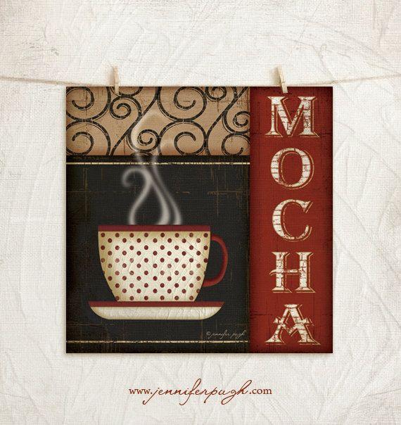 Kitchen Art Print  Mocha Coffee  12x12 Art por JenniferPughStudios